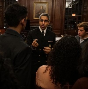 Surgeon General Vivek Murthy during a Q&A in Straus Library