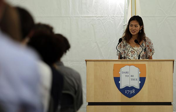 Co-head monitor Emma Tung speaks at Convocation